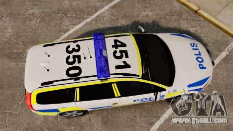 Volvo V70 II Swedish Police [ELS] for GTA 4 right view
