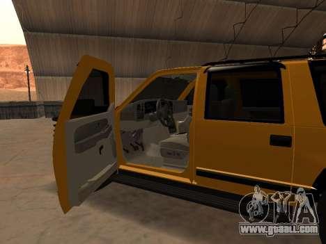 GMC Yukon for GTA San Andreas inner view