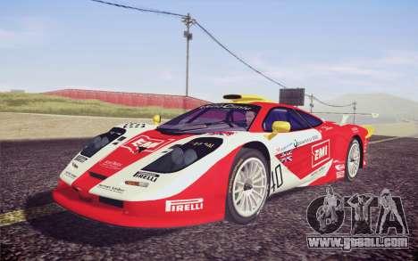 McLaren F1 GTR Longtail 22R for GTA San Andreas inner view