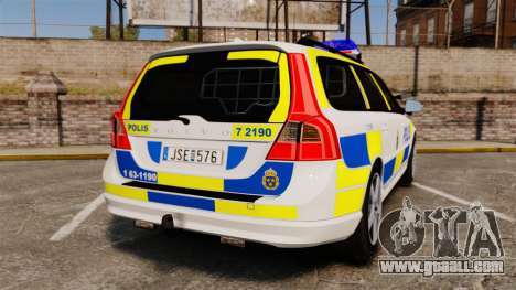 Volvo V70 II Swedish Police [ELS] for GTA 4 back left view