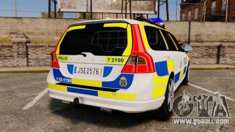 Volvo V70 II Swedish Police [ELS] for GTA 4 back left view