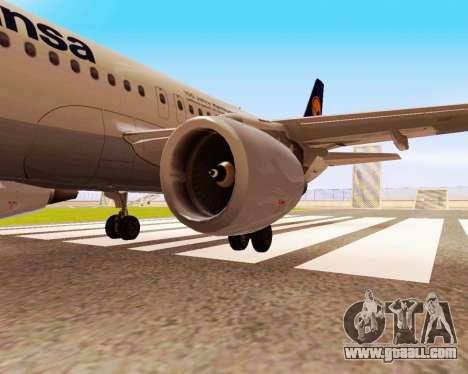 Airbus A320-200 Lufthansa for GTA San Andreas back left view