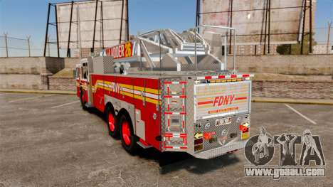 Ferrara 100 Aerial Ladder FDNY [working ladder] for GTA 4 back left view