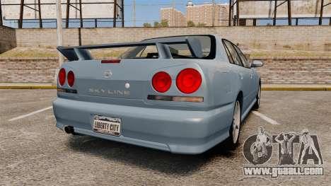 Nissan Skyline ER34 GT25 for GTA 4 back left view