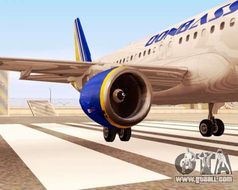 Airbus A320-200 Donbassaero for GTA San Andreas right view
