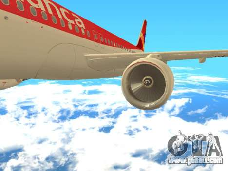 Airbus A320 Avianca Columbia for GTA San Andreas right view