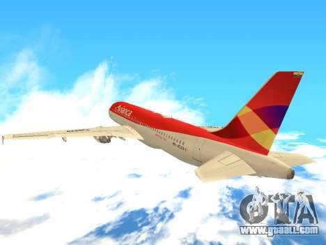 Airbus A320 Avianca Columbia for GTA San Andreas back view