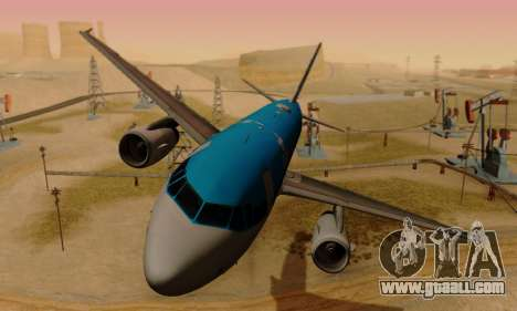 Airbus A319 KLM for GTA San Andreas left view