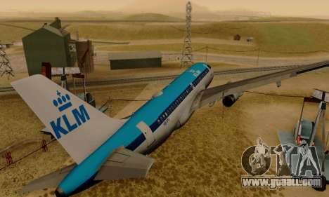 Airbus A319 KLM for GTA San Andreas right view