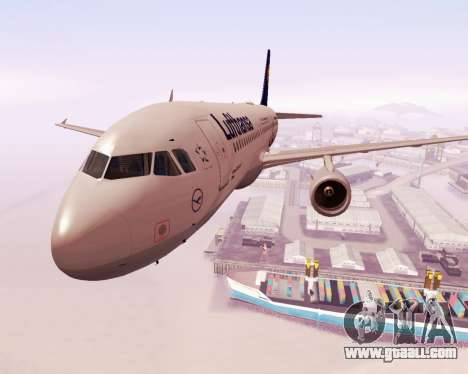Airbus A320-200 Lufthansa for GTA San Andreas side view