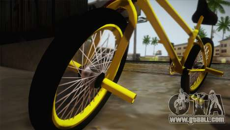 New BMX Yellow for GTA San Andreas back left view