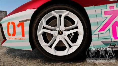 Lamborghini Aventador LP700-4 2012 [EPM] Miku 2 for GTA 4 back view