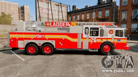 Ferrara 100 Aerial Ladder FDNY [working ladder] for GTA 4 left view