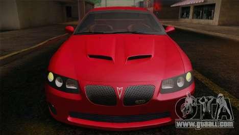 Pontiac GTO 2005 for GTA San Andreas