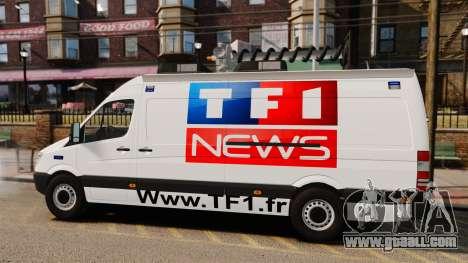 Mercedes-Benz Sprinter TF1 News [ELS] for GTA 4 left view