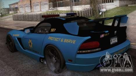 Dodge Viper SRT 10 ACR Police Car for GTA San Andreas back left view