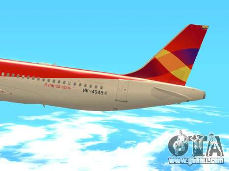 Airbus A320 Avianca Columbia for GTA San Andreas side view