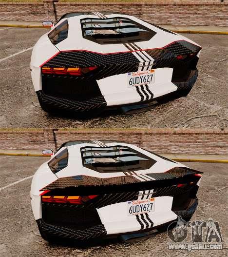 Lamborghini Aventador LP700-4 2012 Adidas Carbon for GTA 4 side view