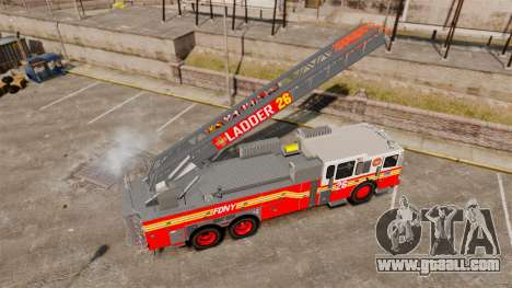 Ferrara 100 Aerial Ladder FDNY [working ladder] for GTA 4 back view