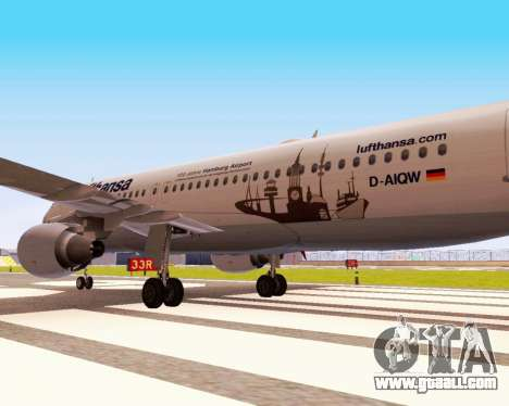 Airbus A320-200 Lufthansa for GTA San Andreas back view