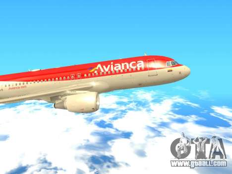 Airbus A320 Avianca Columbia for GTA San Andreas back left view