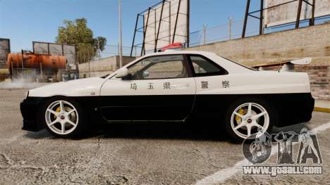 Nissan Skyline GT-R R34 Saitama Police for GTA 4 left view