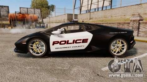 Lamborghini Huracan Cop [Non-ELS] for GTA 4 left view