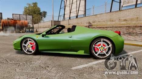 Ferrari 458 Spider Speciale for GTA 4 left view