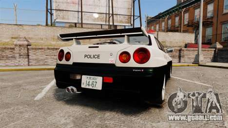Nissan Skyline GT-R R34 Saitama Police for GTA 4 back left view