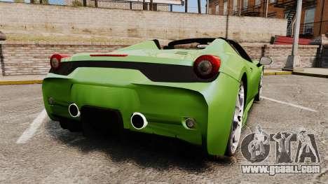 Ferrari 458 Spider Speciale for GTA 4 back left view