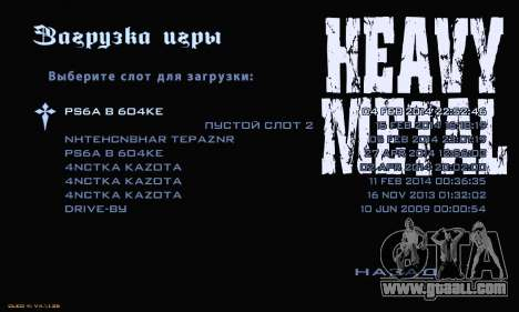 Heavy Metal Menu V.1 for GTA San Andreas forth screenshot