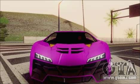 Zentorno GTA 5 V.1 for GTA San Andreas bottom view