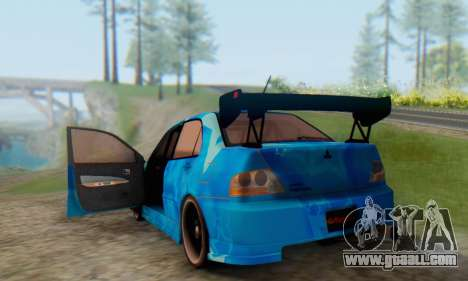 Mitsubishi Lancer Evolution IIIX Blue Star for GTA San Andreas side view