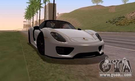 Porsche 918 2013 for GTA San Andreas