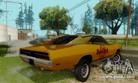 Dodge Charger 1969 Hard Rock Cafe for GTA San Andreas back view