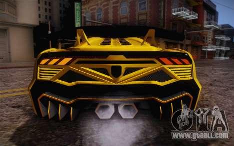 Zentorno из GTA 5 for GTA San Andreas upper view