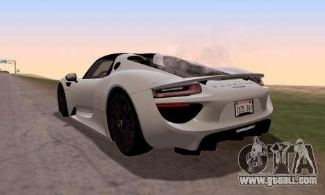 Porsche 918 2013 for GTA San Andreas left view