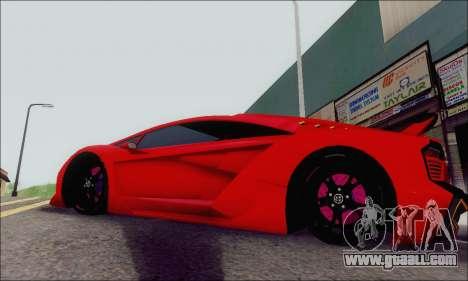 Zentorno GTA 5 V.1 for GTA San Andreas inner view