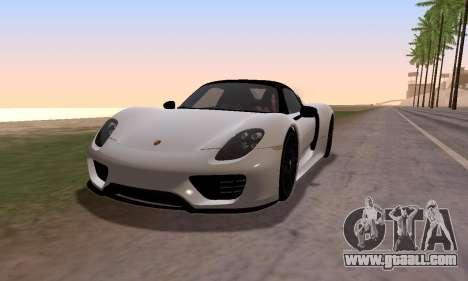 Porsche 918 2013 for GTA San Andreas back left view