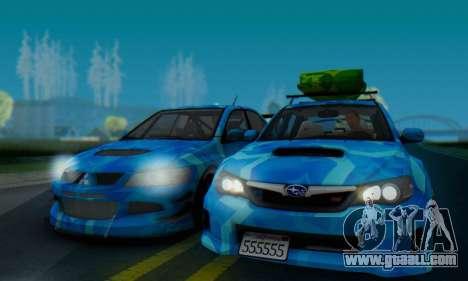 Subaru Impreza Blue Star for GTA San Andreas back left view