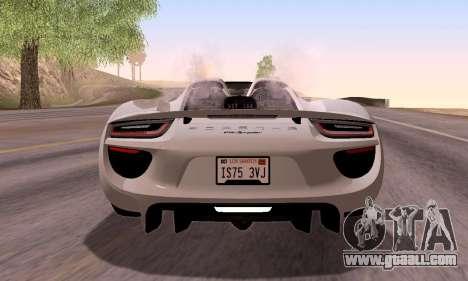 Porsche 918 2013 for GTA San Andreas upper view