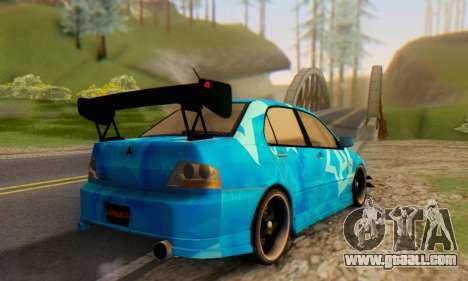 Mitsubishi Lancer Evolution IIIX Blue Star for GTA San Andreas back view