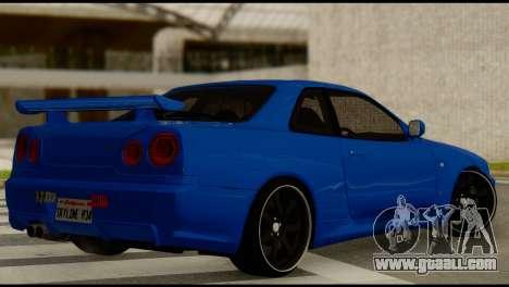 Nissan Skyline R34 for GTA San Andreas left view