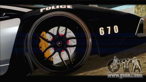 Lamborghini Murcielago LP670 SV Police for GTA San Andreas inner view