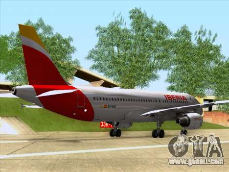 Airbus A320-214 Iberia for GTA San Andreas back left view
