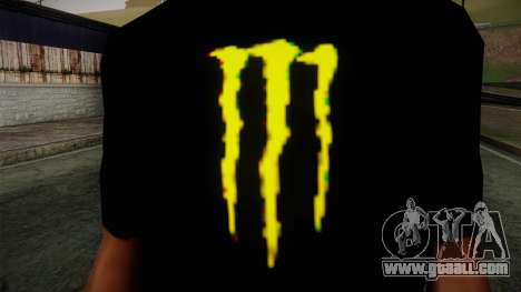 Monster Energy Shirt Black for GTA San Andreas third screenshot