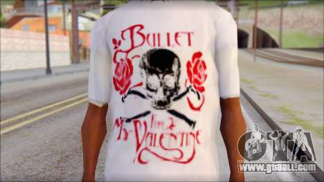 Bullet For My Valentine White Fan T-Shirt for GTA San Andreas third screenshot