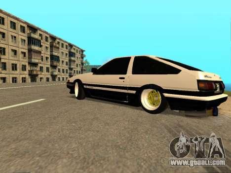 Toyota Corolla AE86 Trueno JDM for GTA San Andreas bottom view