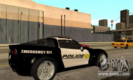 Chevrolet Corvette Z06 Los Santos Sheriff Dept for GTA San Andreas left view