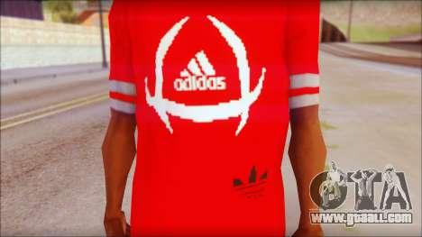 T-Shirt Adidas Red for GTA San Andreas third screenshot